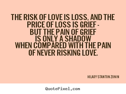 THE RISK OF LOVE LOSS, AND THE 
