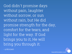 God didn't promise days 