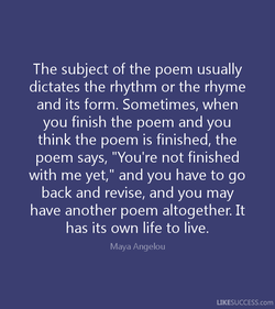 The subject of the poem usually 
