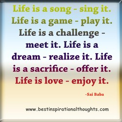 Life is a game - play it, 