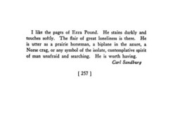 I like the pages of Ezra Pound. He stains darkly and 