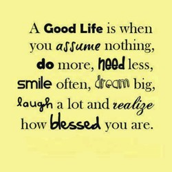 A Good Life is when 