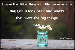 Enjoy the little things in life because one 
