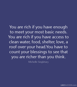You are rich if you have enough 