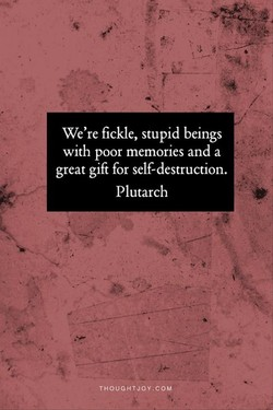 We're fickle, stupid beings 