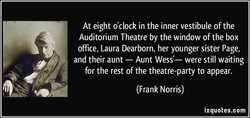 At eight o'clock in the inner vestibule of the 