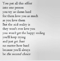 You put all this effort 