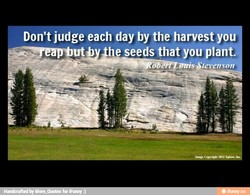 Don't judge each day by the harvest you utb he seeds that you plant 'evenson