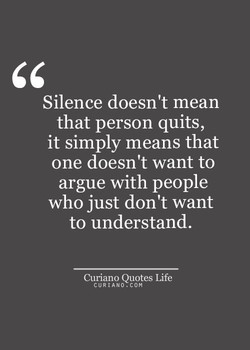 Silence doesn't mean 