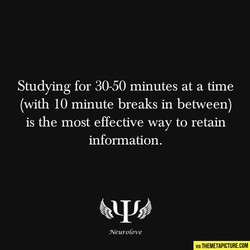 Studying for 30-50 minutes at a time 