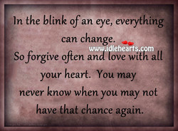 In the blink of an eye, everything 