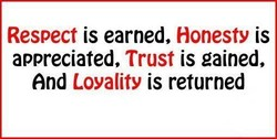 Respect is earned, Honesty is 