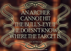 AN ARCHER CANNOT HIT THE BULL'S-EYE IF -IE DOESN'T KNOW zWHERE THE TARGET ANONYMOUS @ abacus s. gspot.cmn
