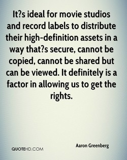 It?s ideal for movie studios 