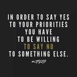 IN ORDER TO SAY YES 