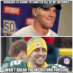 RODGERS IS GOING TO SHATTER ALL OF MV RECORDS I WON'T BREAK THE INT-RECORD FORISURE