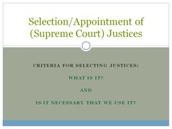 Selection/ Appointment of 