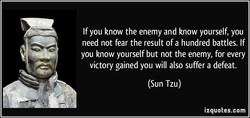 If you know the enemy and know yourself, you 