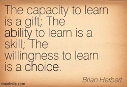 The capacity to learn is a gift; The ability to learn is a skill; The willinaness to learn is a choice Brian Herbert meetville.com