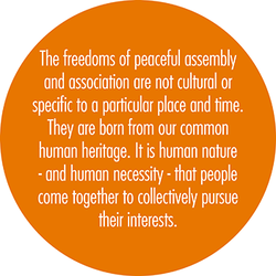 The freedoms of peaceful assembly 