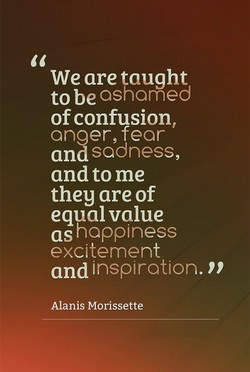 We are taught to be ashamed of confusion, anger, fear and sadness, and to me they are of equal value as happiness excitement and inspiration. Alanis Morissette