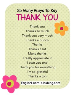 So Many Ways To Say THANK YOU Thank you Thanks so much Thank you very much Thanks a bunch Thanks Thanks a lot Many thanks I really appreciate it -l owe you one Thank you for everything I'm so grateful Thanks a ton EnglishLearn-1.loxblog.com