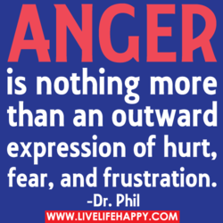 ANGER is nothing more than an outward expression of hurt, fear, and frustration. -Dr. Phil WWW.LIVELIFEHAPPY.COM