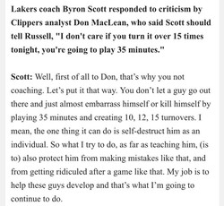 Lakers coach Byron Scott responded to criticism by 