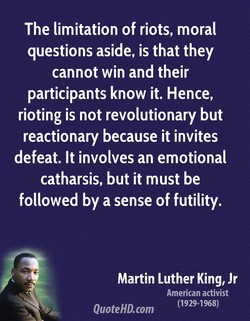 The limitation of riots, moral 