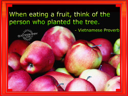 When eating a fruit, think of the 
