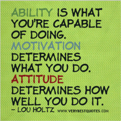 ABILITY IS WHAT YOU'RE CAPABLE OF DOING. MOTIVATION DETERMINES WHAT YOU DO. ATTITUDE DETERMINES HOW WELL YOU DO IT. — LOU HOLTZ WNW.VERYBESTQUOTES.COM