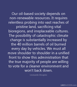 Our oil-based society depends on 