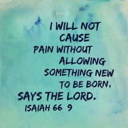 I WILL NOT CAUSE PAIN WITHOUT ALLOWING SOMETHING NEW TO BE BORN, says THE LORD, 66 9