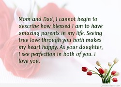 Mom and Dad, I cannot begin to 