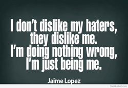 I don't dislike my haters, 