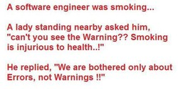 A software engineer was smoking... 