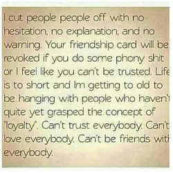 cut people people off with no 