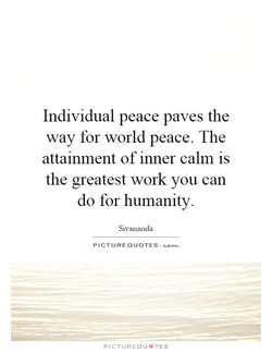 Individual peace paves the 