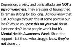 Depression, anxiety and panic attacks are NOT a 