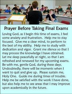 Prayer Before Taking Final Exams 
