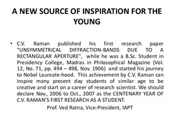 A NEW SOURCE OF INSPIRATION FOR THE 