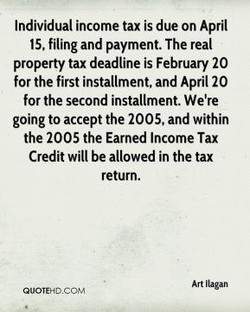 Individual income tax is due on April 