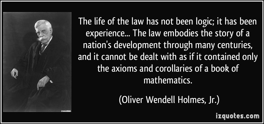 Image result for the life of the law is experience not logic