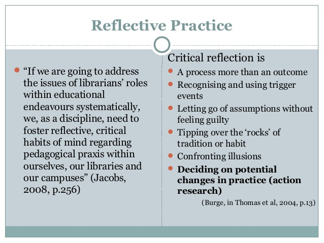 reflection education and reflective practice essay