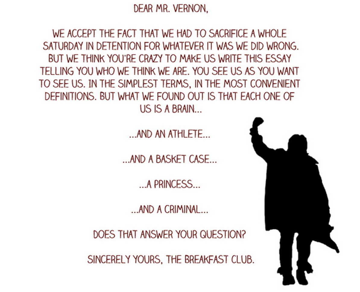 the breakfast club essay Breakfast club character evaluations essay 1351 words | 6 pages the breakfast club was a movie about five very different characters, claire, andrew, brian, allison, and john bender.