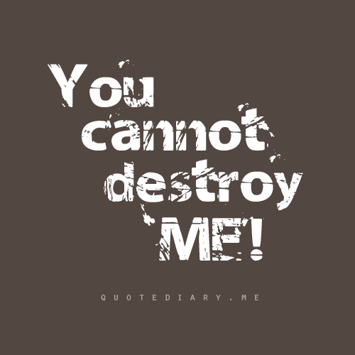 Me you destroyed You Destroyed