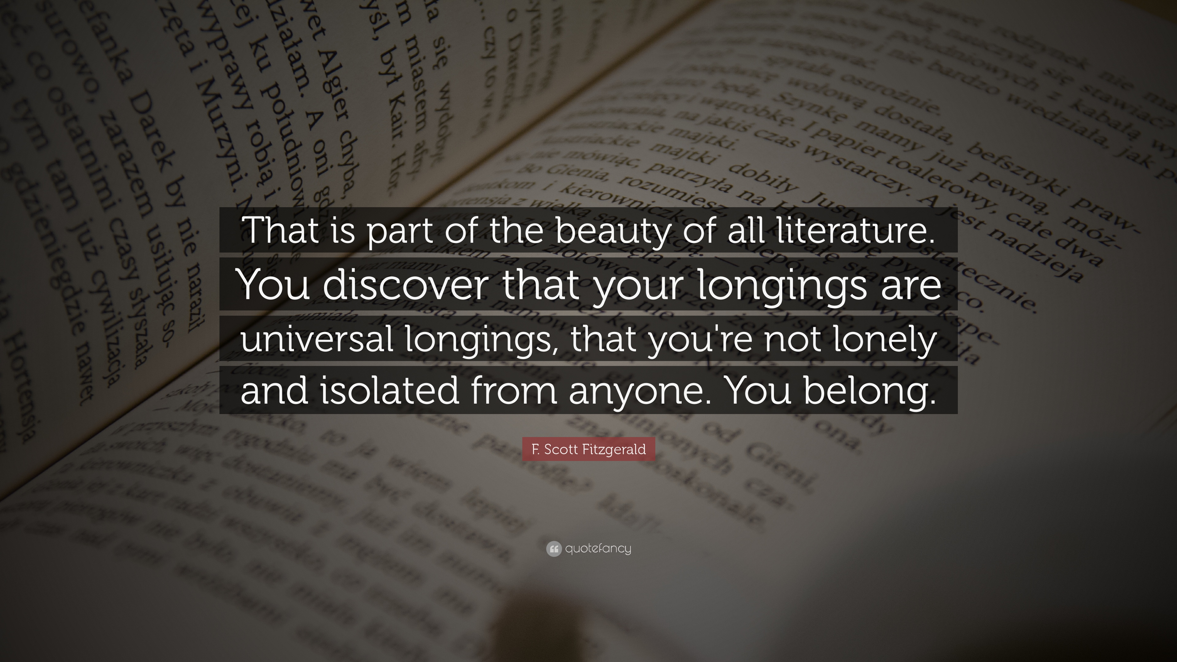 Https://quotefancy.com/quote/900/F Scott Fitzgerald That Is Part Of The Beauty Of All Literature You Discover That Your  ...