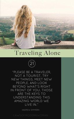 Traveling Alone Caption