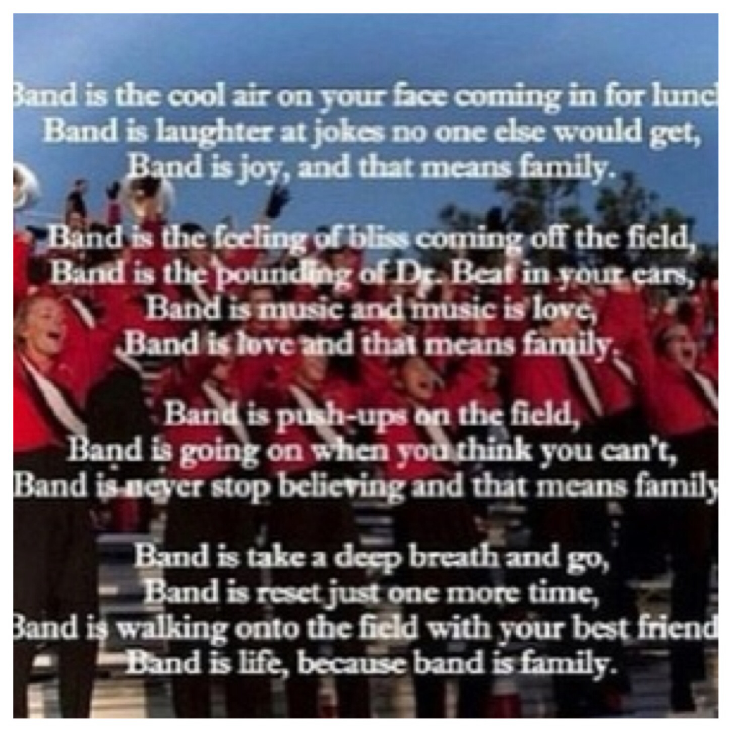 Quotes about Marching band family (19 quotes)