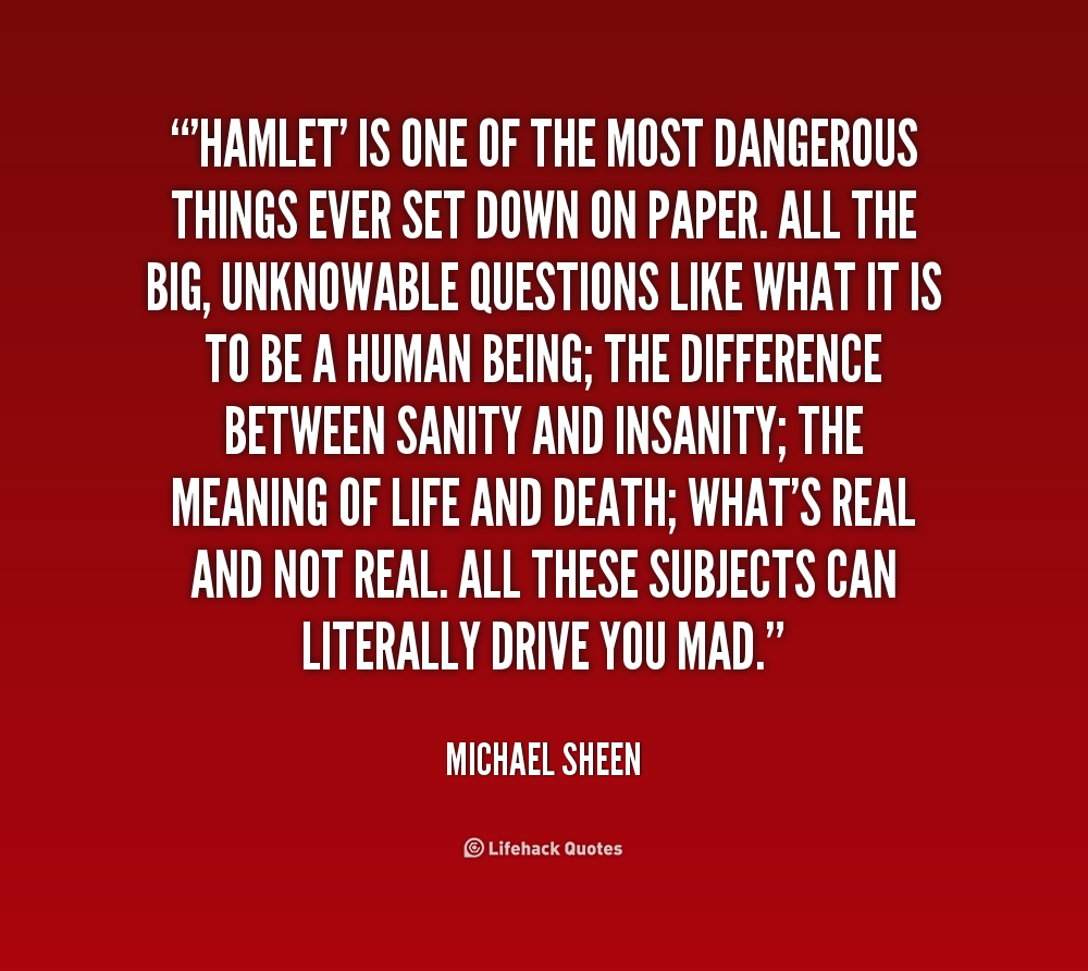 hamlet sane or insane term paper Hamlet essay essay topics the american novelist, john irving, says said about his work the world according to garp, that it is a life-redeeming work in which everybody dies comment on the extent to which the same might be said of hamlet.